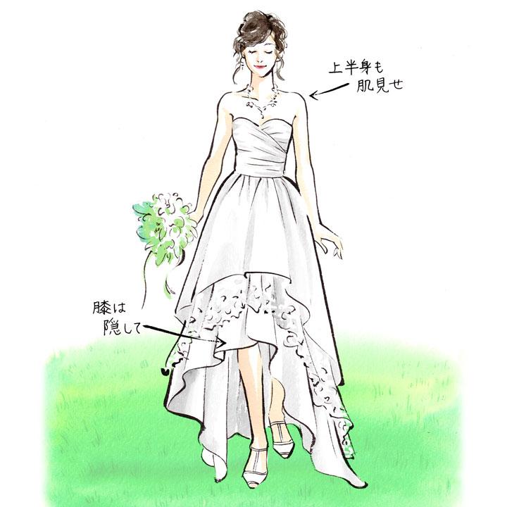 ベアトップスのフィッシュテールドレスを着た女性のイラストです
