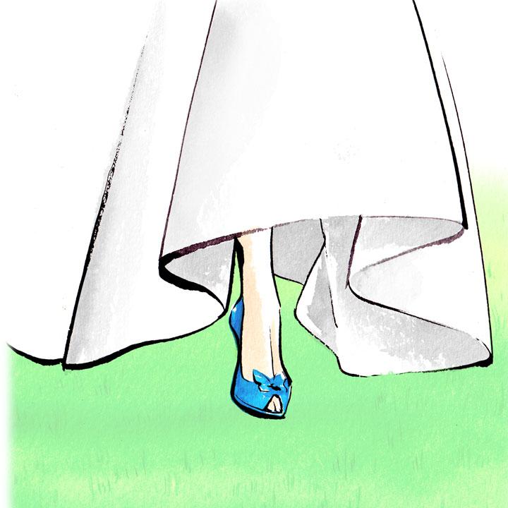 青いオープントゥのパンプスを履いた女性のイラストです