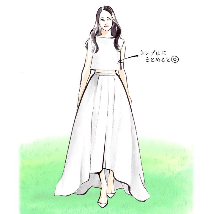 シンプルにアクセサリーを着けていないドレス姿のイラストです