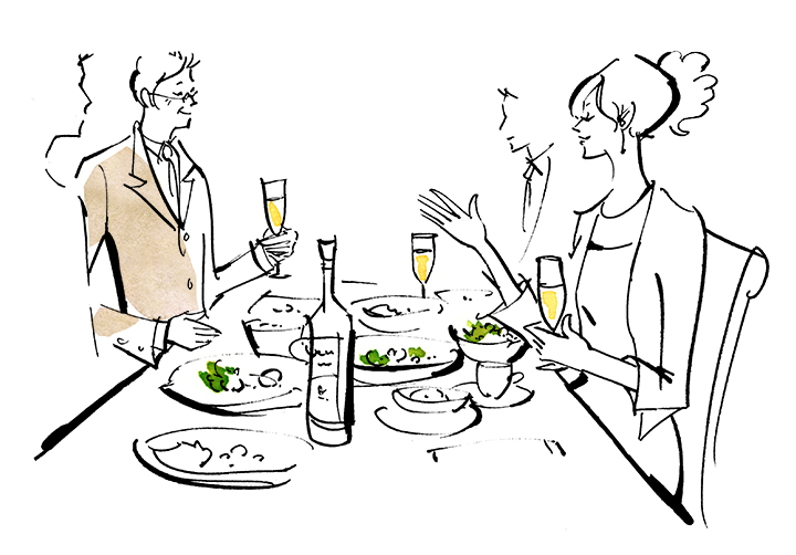 新郎父と新婦が楽しく会話しているイラスト