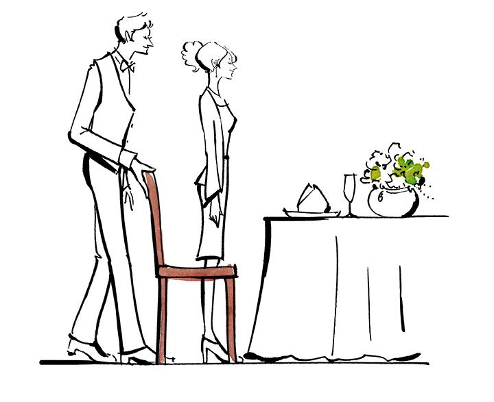 女性は椅子の左側に立ち、サービス係が椅子を引いているイラスト