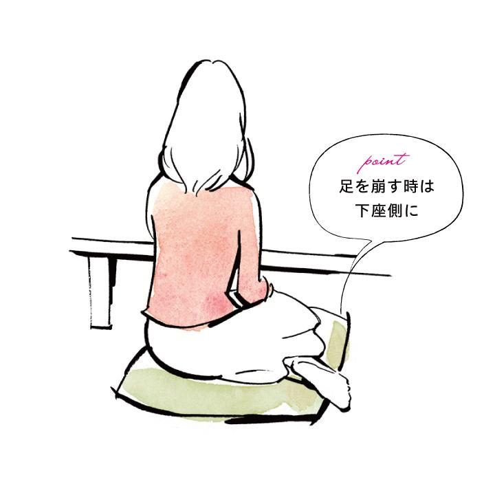 座布団に座る新婦が、下座側に脚を出して正座を崩しているイラスト