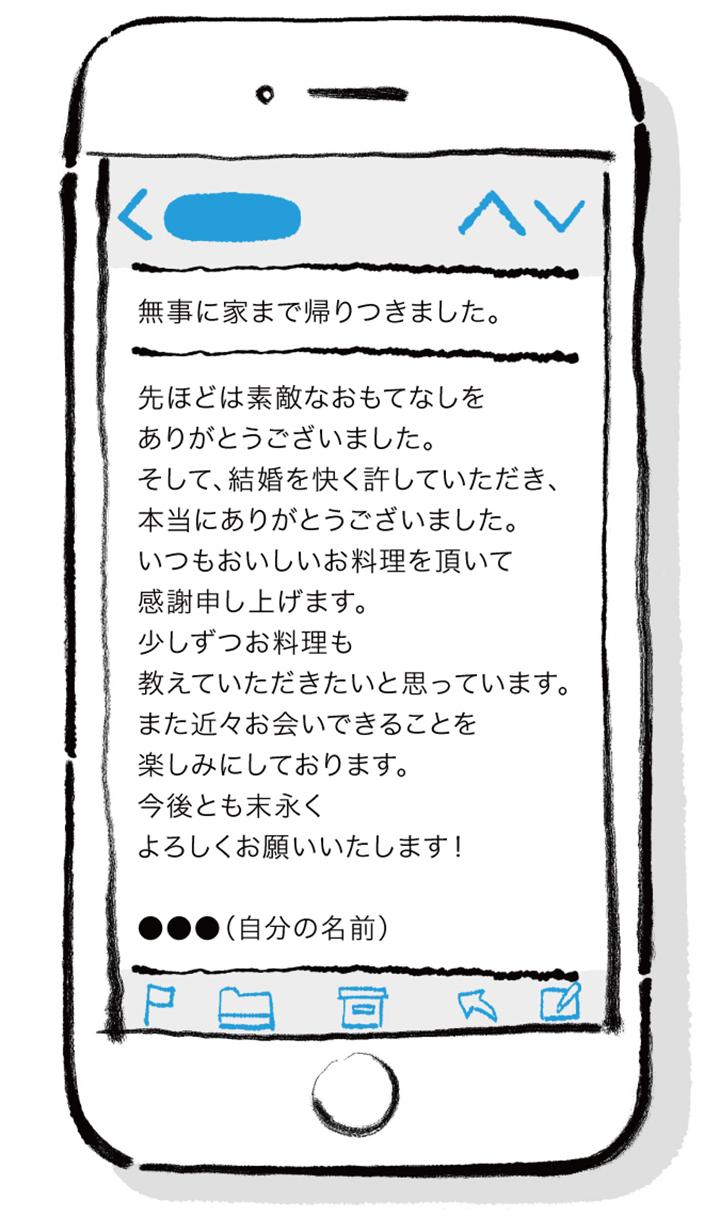 【親あいさつ後のメール文例】