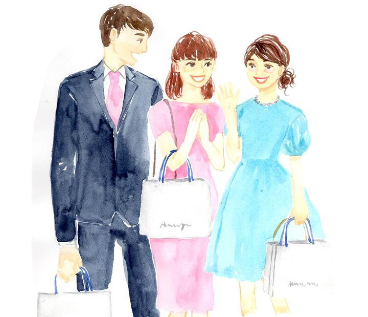 結婚式帰りの若者たち