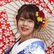和傘を差した花嫁さん横顔