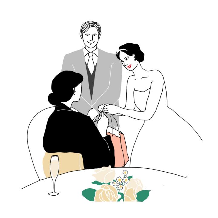 親族へ引出物を渡す花嫁