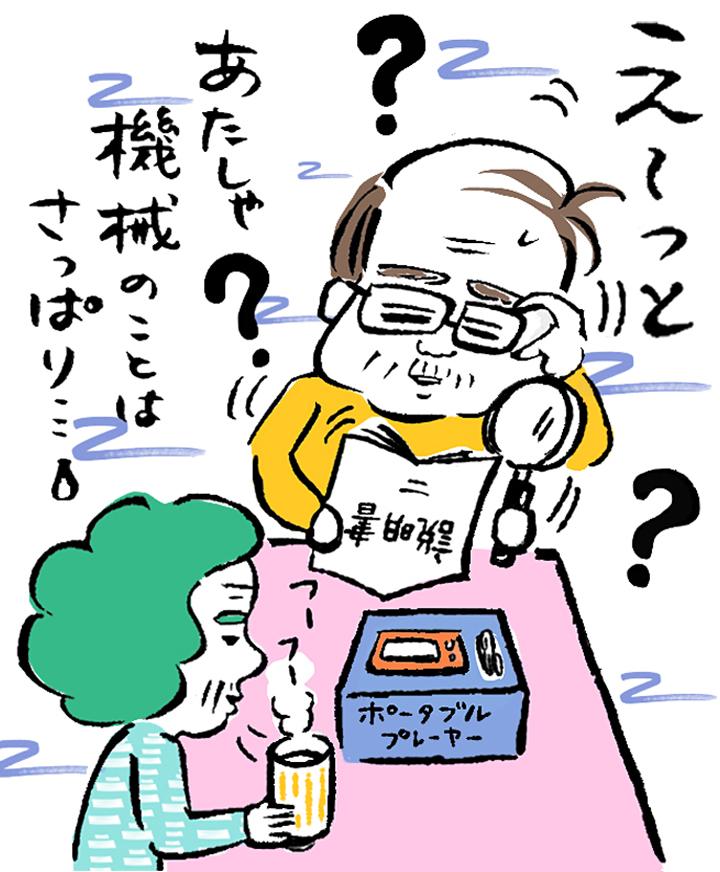 ポータブルプレイヤーの使用法がわからず困惑する老父婦