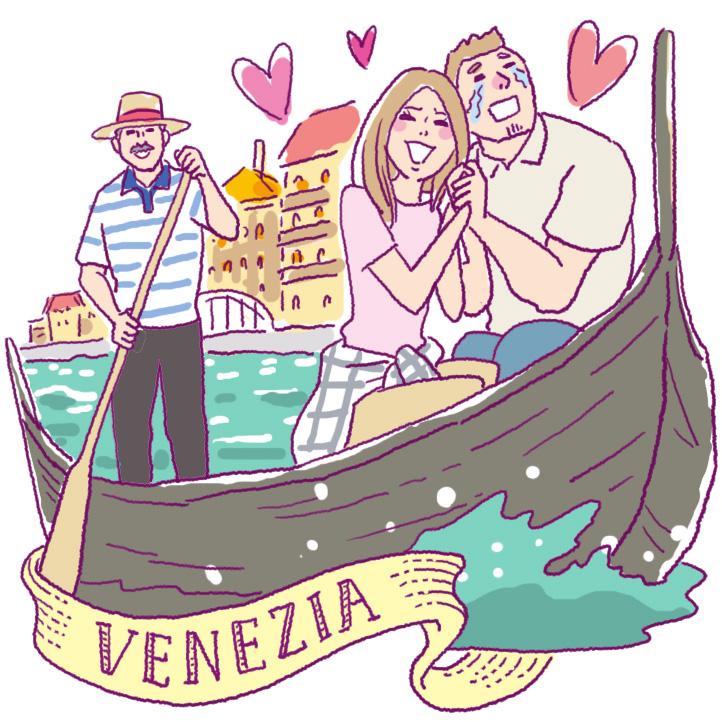 ベネチアでゴンドラの乗るカップル
