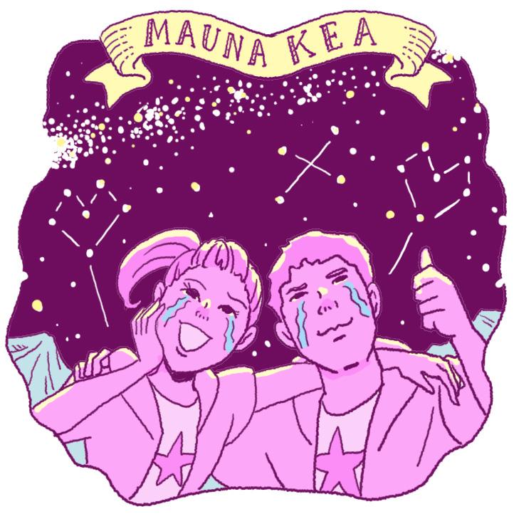 マウナケアの星空に感激するカップル