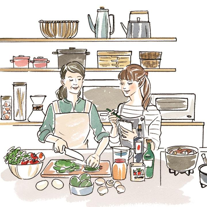 娘に料理を伝授する母(ラフ)