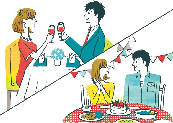 誕生日祝いの料理を食べるふたり