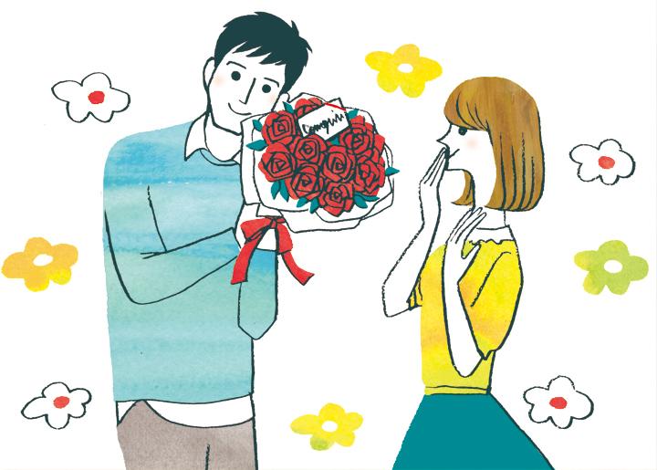 妻に花束を渡す夫