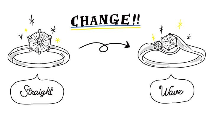 デザインが変更になっているリングのイラストイメージ