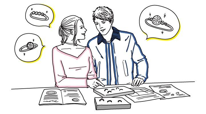 男女二人が一緒にリングのデザインを選んでいる様子イラスト