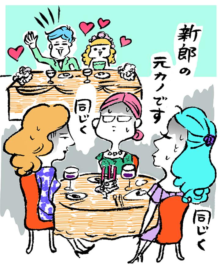 新郎の元彼女が揃い、微妙な雰囲気のゲストテーブル
