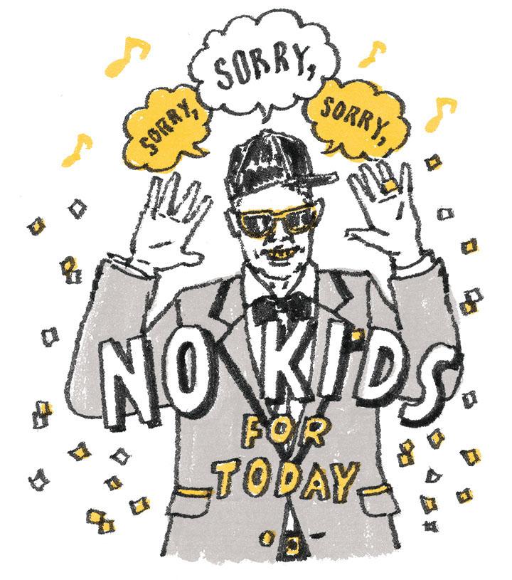 ラッパーの新郎が「Sorry,No KIDS for today」と歌っているイラスト