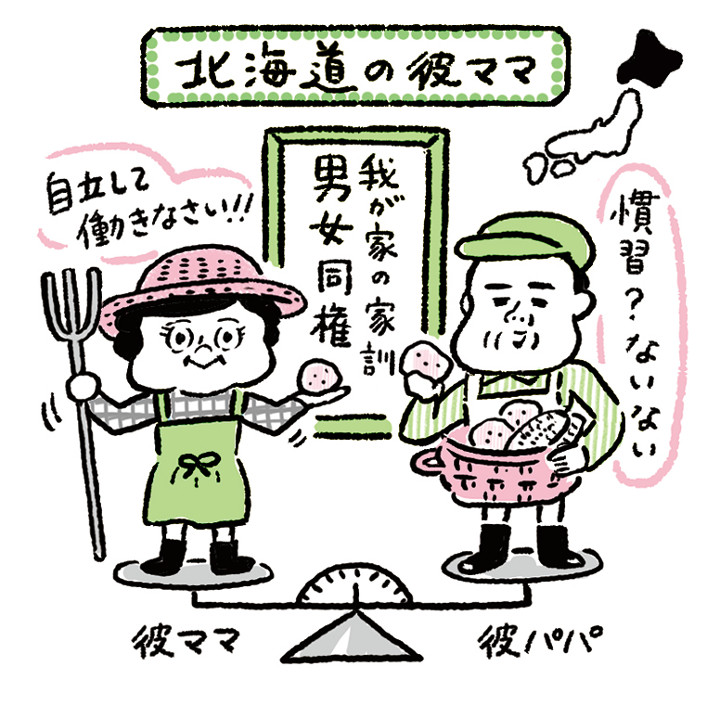 北海道の彼ママ県民性イラスト