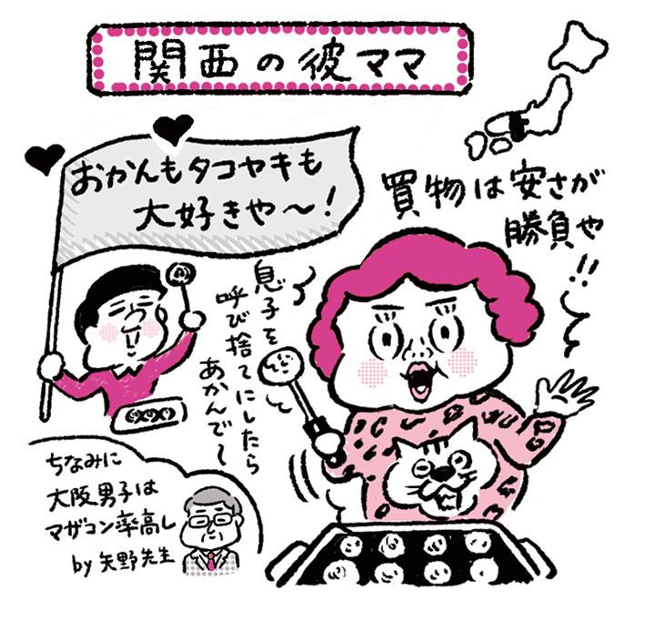 関西の彼ママ県民性イラスト