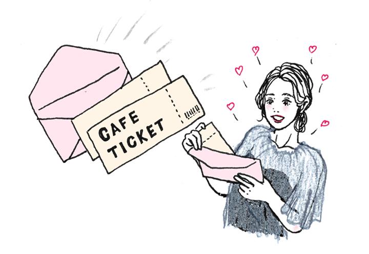 カフェの無料チケット