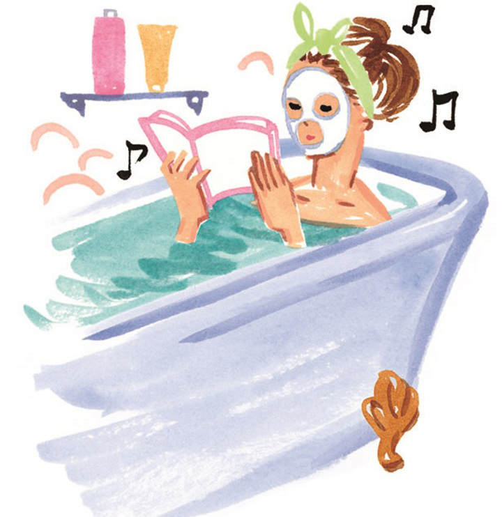 お風呂に浸かってリラックスする女性
