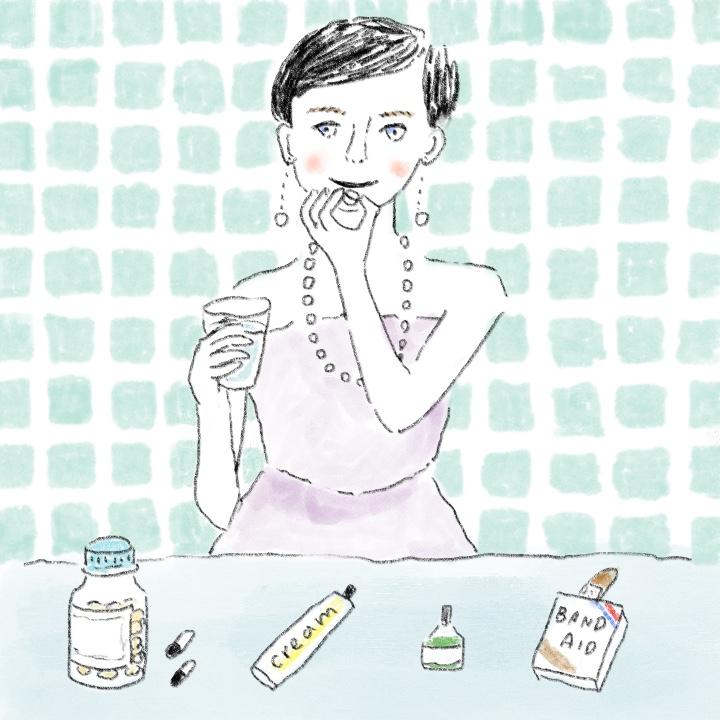 頭痛薬を飲む花嫁
