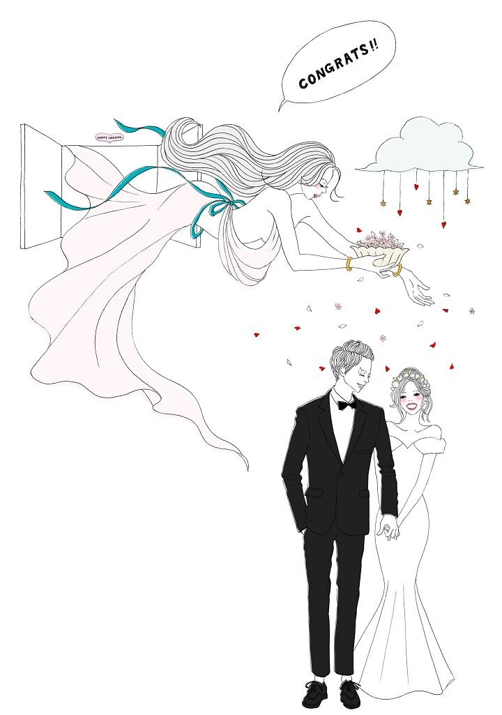天女が新郎新婦を祝福しているイラスト