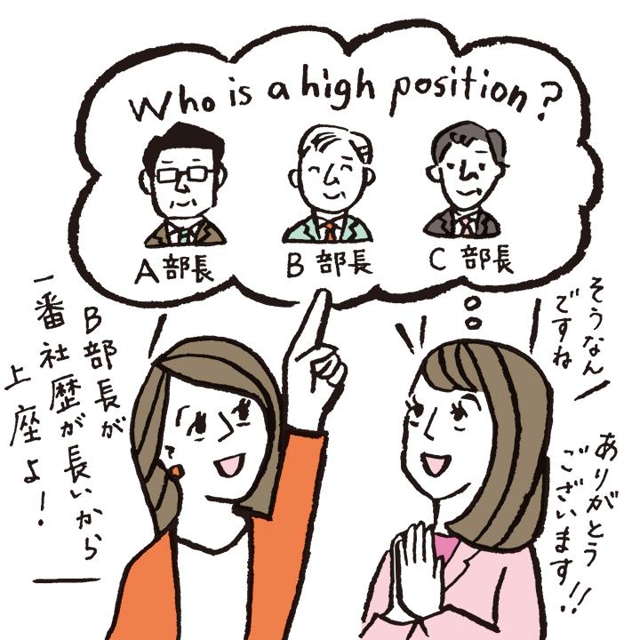 職場の先輩に、上司の序列を聞いている女性