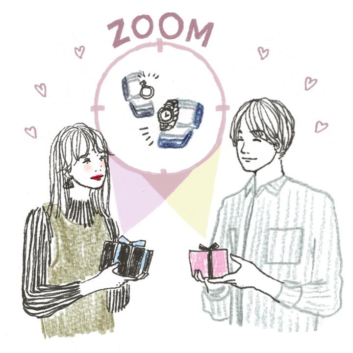 婚約記念品を贈り合うカップル
