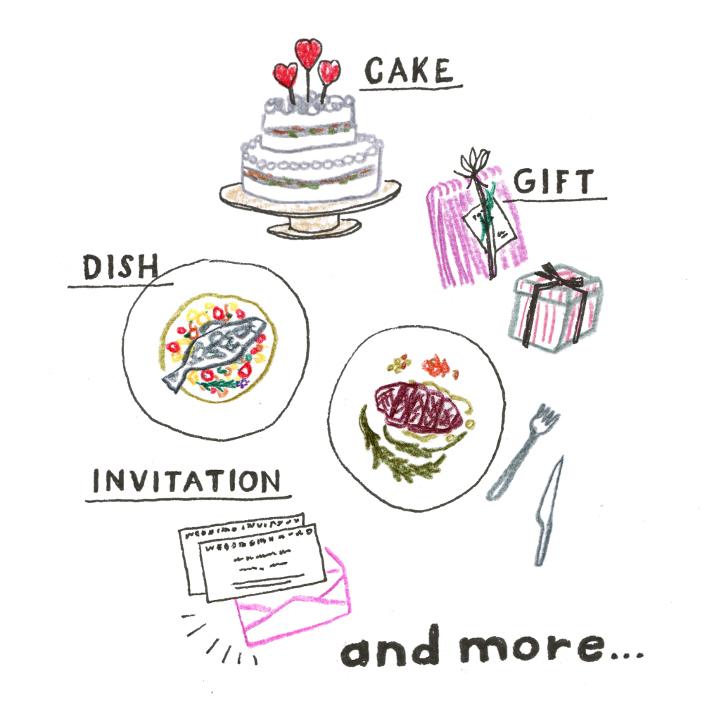 料理やギフト、招待状などのおもてなしアイテム