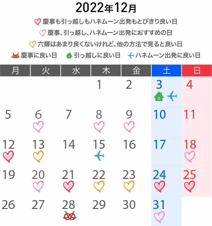 2022年12月カレンダー