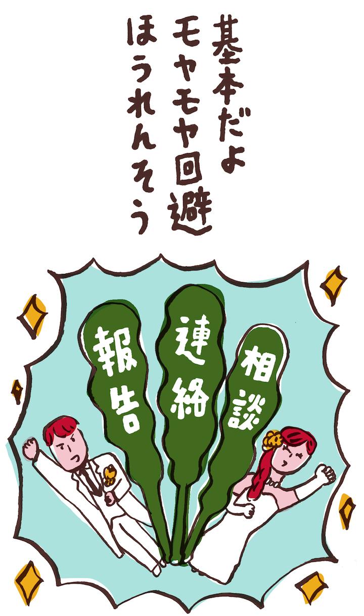 「基本だよ モヤモヤ回避 ほうれんそう」の川柳イラスト