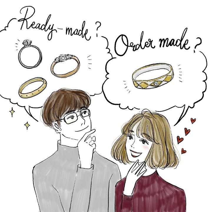 指輪のオーダー方法を思案するカップル