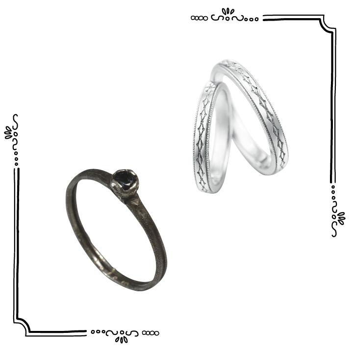 モノトーン指輪