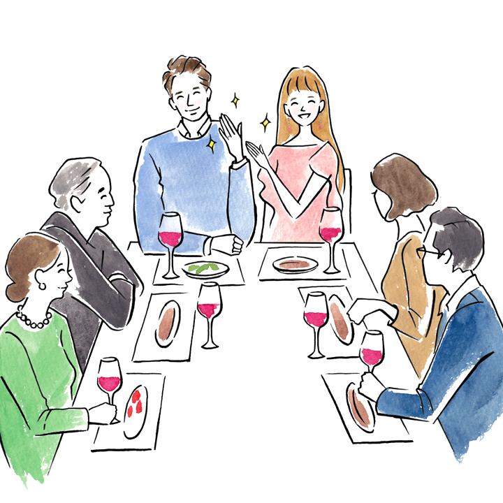婚約食事会で結婚指輪を披露しているイラスト