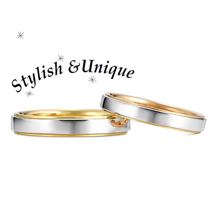 シンプルなリングの内側にゴールドを配した結婚指輪