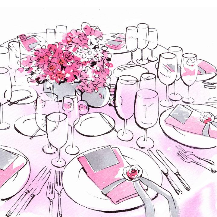 ピンクのテーブルクロスとピンクの花で彩られたテーブルのイラストです。