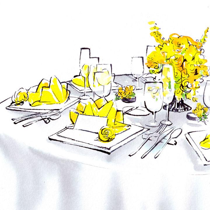 黄色い花で鮮やかに飾られたテーブルコーディネートのイラストです。