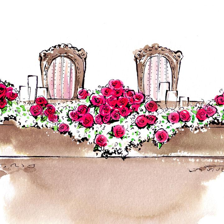 赤いバラとかすみ草が組み合わせられて飾られたテーブルのイラストです。