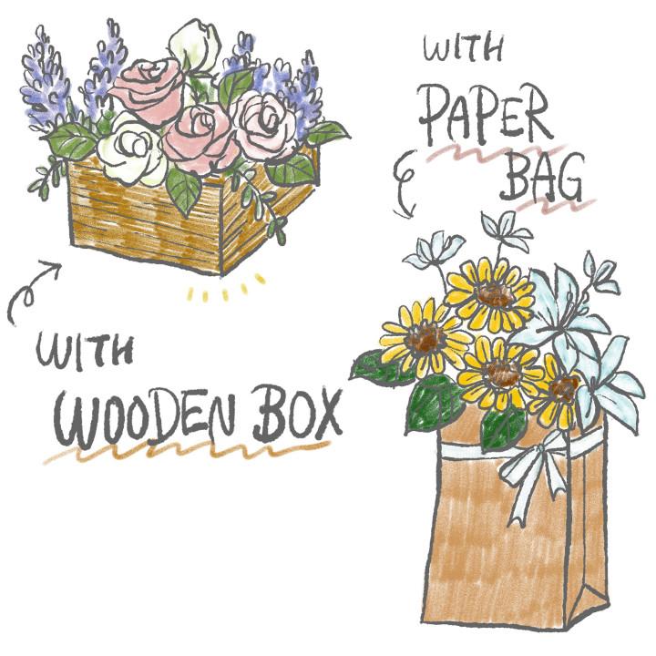 木箱や紙袋を花器代わりに