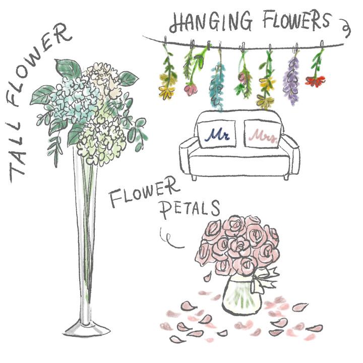 吊るしたり、花びらを散らす装花アイデア