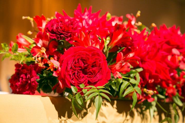 真っ赤な卓上装花1