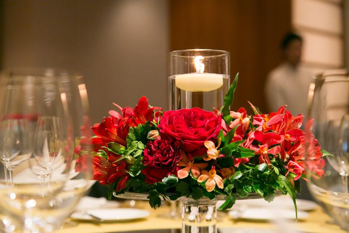 真っ赤な卓上装花2