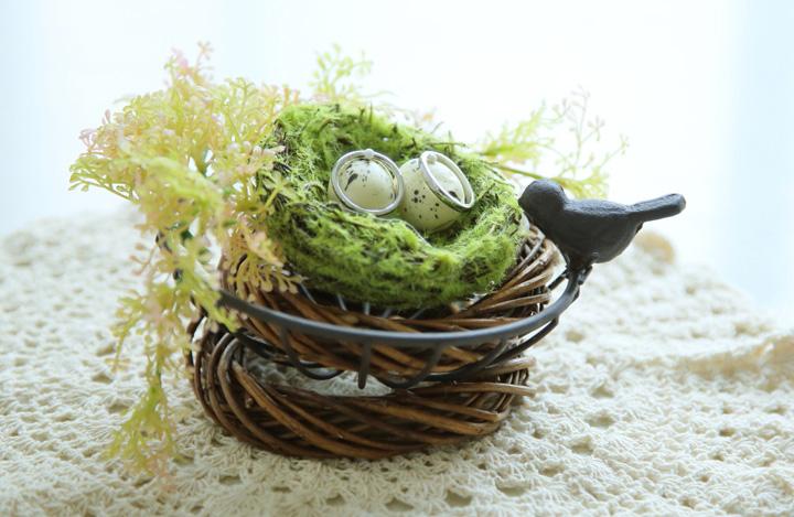 鳥の巣リングピローの全体像