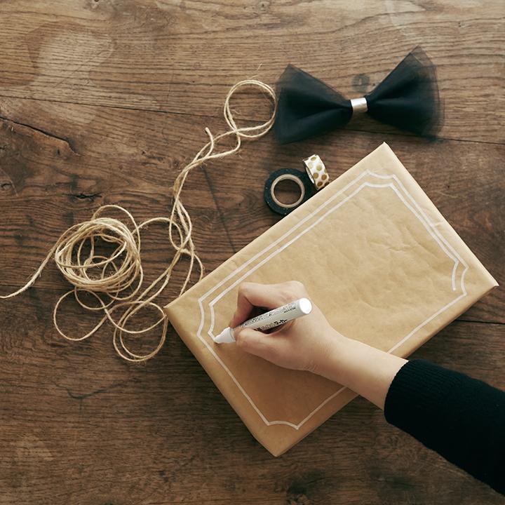 ボックスに手書きで模様やメッセージを