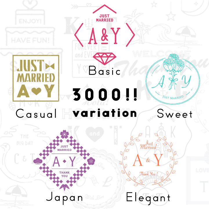「めおとロゴ」はデザイン25種×メッセージ10種×12色の「全3000バリエーション!」
