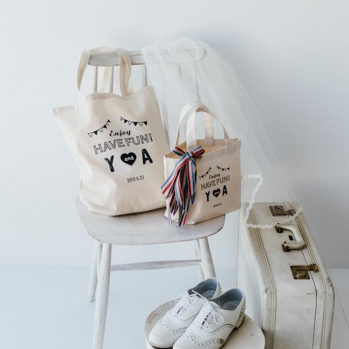 「めおとロゴ」を使った花嫁DIYアイテム、イベント用バッグ画像