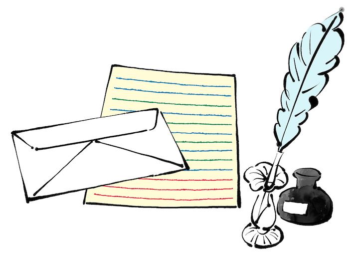 手紙と羽根ペンのイラスト