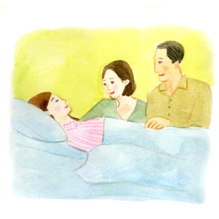 病院に運ばれた先輩花嫁を支える両親
