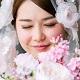 目を閉じた花嫁の顔