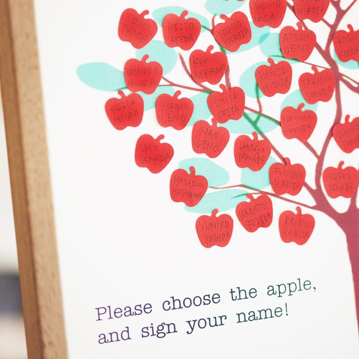 リンゴの形がかわいいシンプルなウエディングツリー